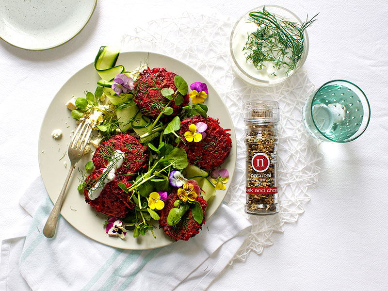 Beetroot & carrot fritters with watercress, feta & dill yoghurt dressing