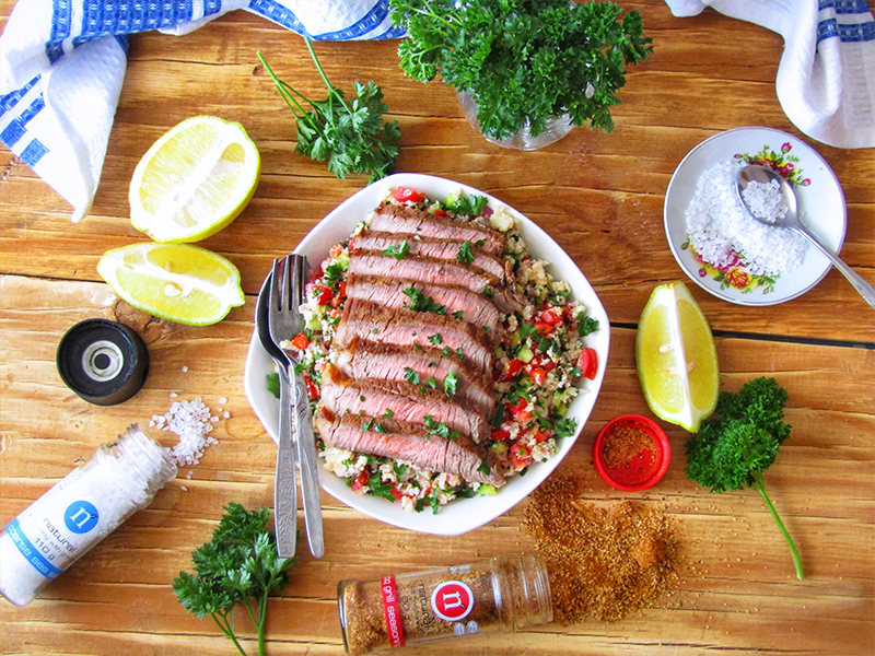 Cauliflower Tabbouleh Salad with Grilled Steak
