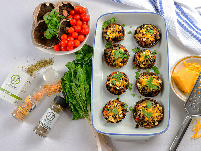Bacon & spinach stuffed mushrooms